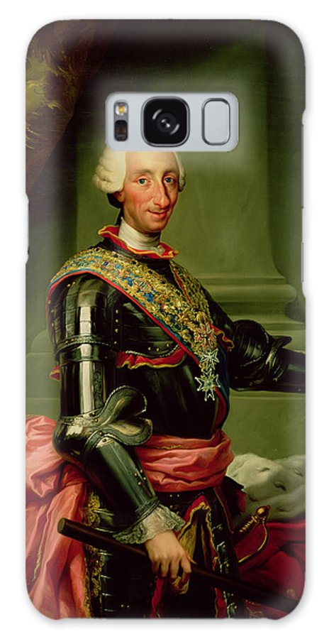King Of Spain Galaxy S8 Case featuring the photograph Portrait Of Charles IIi 1716-88 C.1761 Oil On Canvas by Anton Raphael Mengs