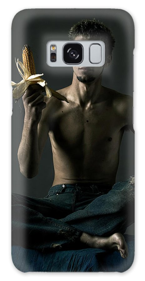 Portrait Galaxy S8 Case featuring the photograph Portrait Of Young Man With Corn Cob by Evgeniy Lankin