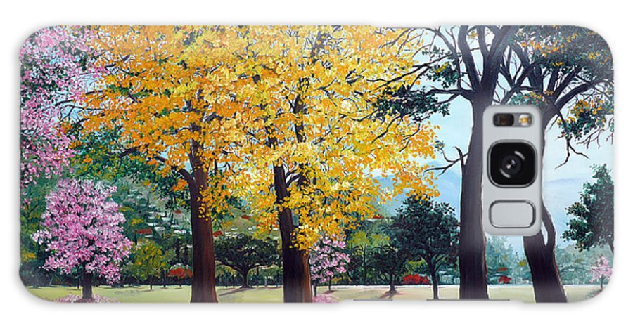 Tree Painting Landscape Painting Caribbean Painting Poui Tree Yellow Blossoms Trinidad Queens Park Savannah Port Of Spain Trinidad And Tobago Painting Savannah Tropical Painting Galaxy S8 Case featuring the painting Poui Trees In The Savannah by Karin Dawn Kelshall- Best