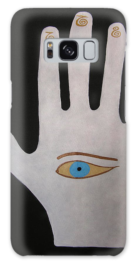 Hamsa Galaxy S8 Case featuring the painting Power Chi Hand by Elle Nicolai