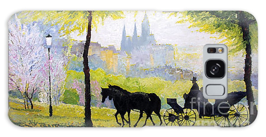 Oil Galaxy S8 Case featuring the painting Prague Midday Walk In The Petrin Gardens by Yuriy Shevchuk