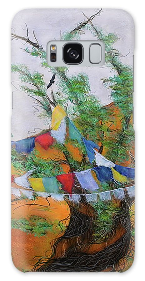 Sacred Art Painting Galaxy S8 Case featuring the painting Prayer Flags by Deborha Kerr