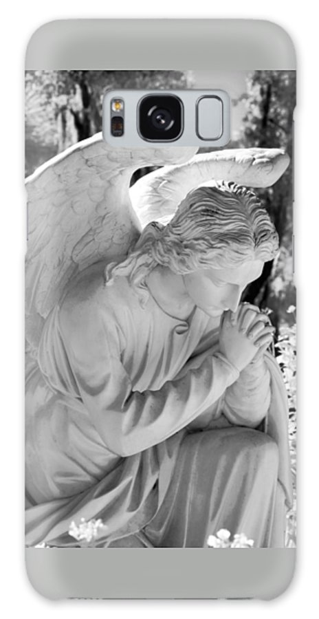 Near Galaxy S8 Case featuring the photograph Praying Male Angel Near Infrared Black And White by Sally Rockefeller