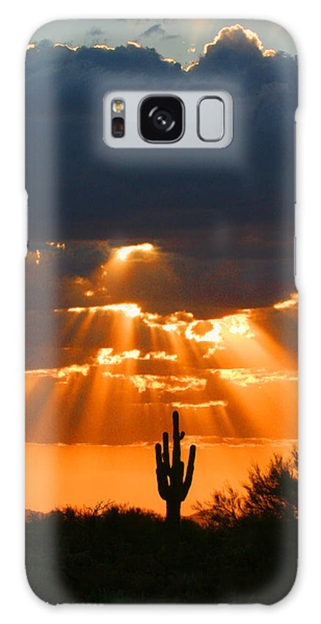 Pre Sunset Sky With Saguaro Galaxy S8 Case featuring the photograph Pre Sunset Sky With Saguaro by Tom Janca