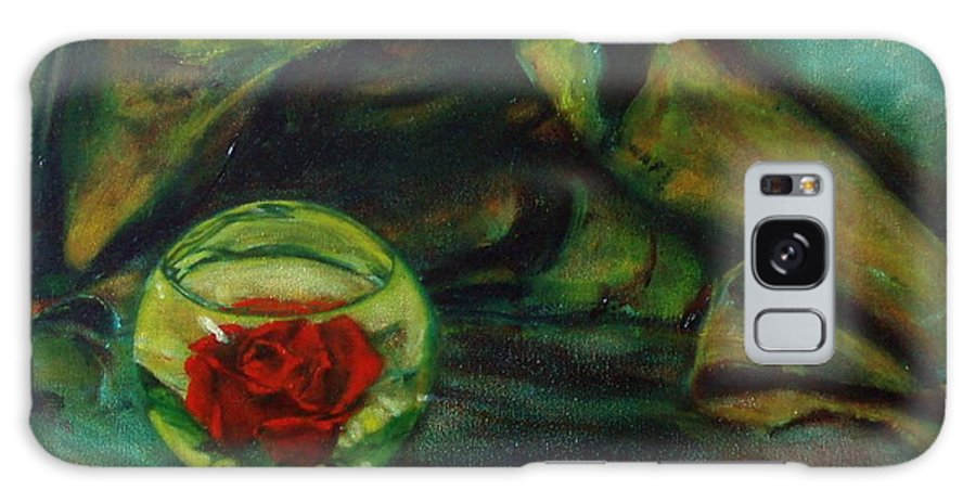 Still Life Galaxy Case featuring the painting Preserved Rose . . Draped Canvas by Sean Connolly