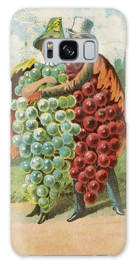 Vintage Galaxy S8 Case featuring the drawing Pressed Grapes by Aged Pixel