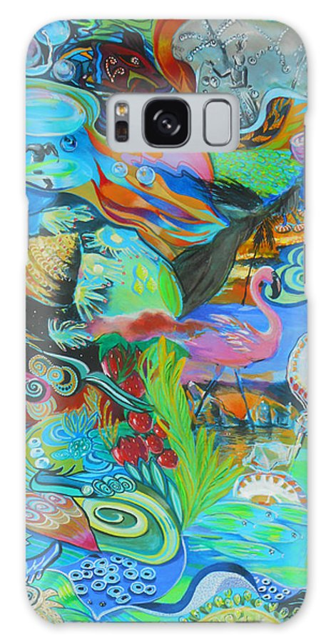 Flamingo Galaxy S8 Case featuring the painting Pretty Flamingo by Lucia Hoogervorst