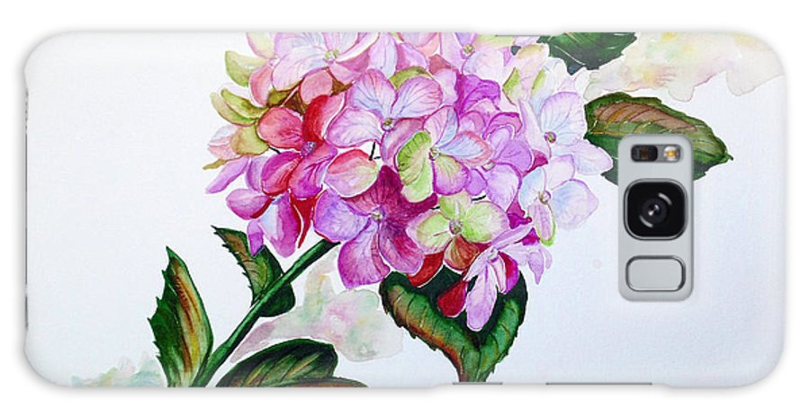 Hydrangea Painting Floral Painting Flower Pink Hydrangea Painting Botanical Painting Flower Painting Botanical Painting Greeting Card Painting Painting Galaxy Case featuring the painting Pretty In Pink by Karin Dawn Kelshall- Best