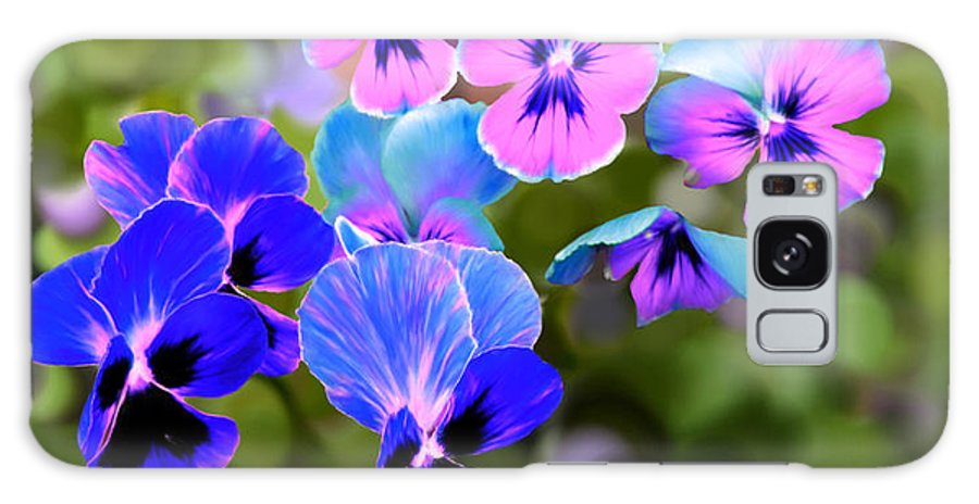 Blue Galaxy S8 Case featuring the painting Pretty Pansies 2 by Bruce Nutting