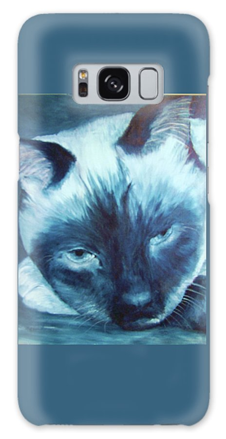 Siamese Galaxy S8 Case featuring the painting Prima Donna, Cat by Sandra Reeves