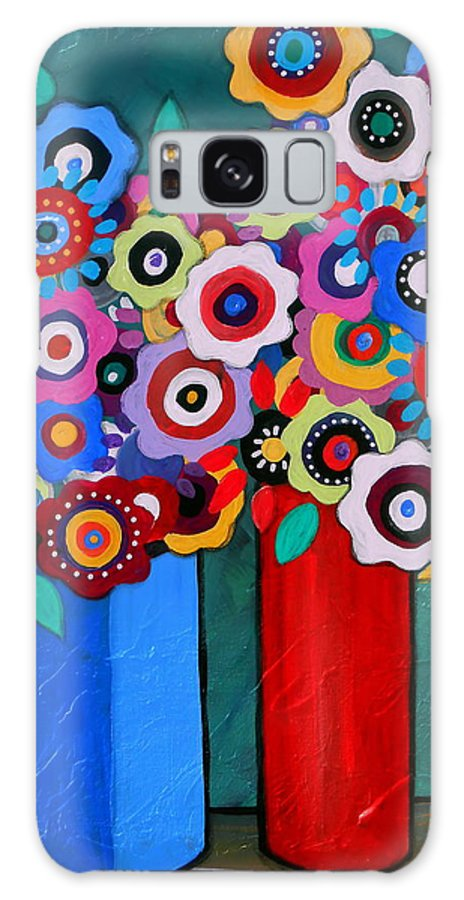 Blooms Galaxy S8 Case featuring the painting Prisarts Florals II by Pristine Cartera Turkus