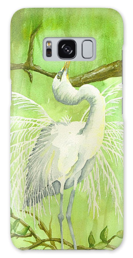 Egret Galaxy S8 Case featuring the painting Proud Egret by Kathy Przepadlo