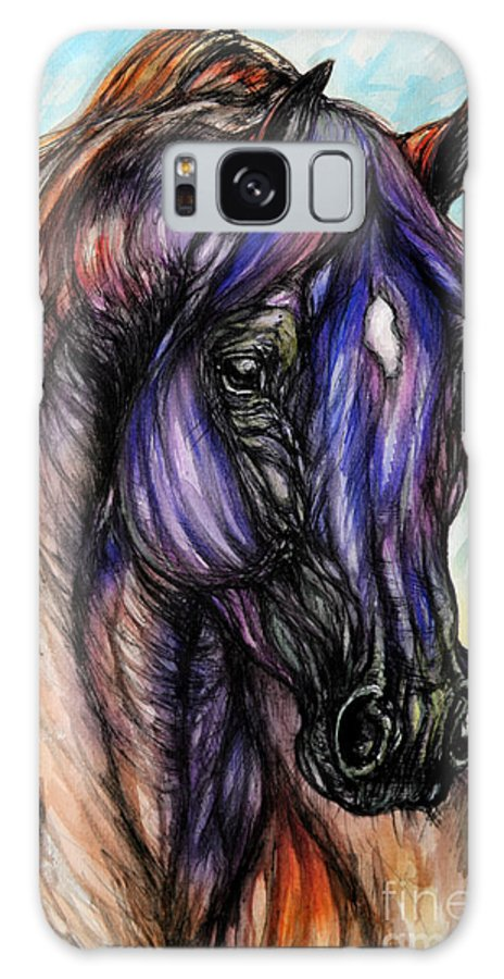 Horse Galaxy S8 Case featuring the painting Psychedelic Blue And Orange by Angel Ciesniarska