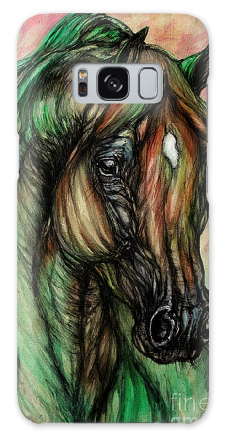 Horse Galaxy S8 Case featuring the painting Psychedelic Green And Pink by Angel Ciesniarska