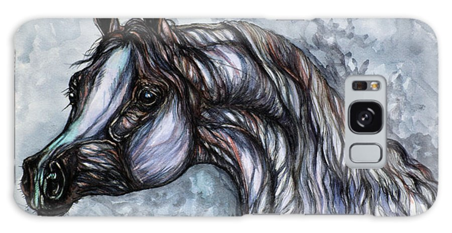 Horse Galaxy S8 Case featuring the painting Psychedelic Grey And Blue by Angel Ciesniarska