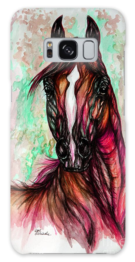 Horse Galaxy S8 Case featuring the painting Psychedelic Pink And Green by Angel Ciesniarska
