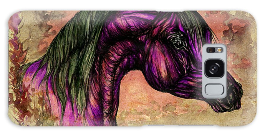 Horse Galaxy S8 Case featuring the painting Psychedelic Purple by Angel Ciesniarska