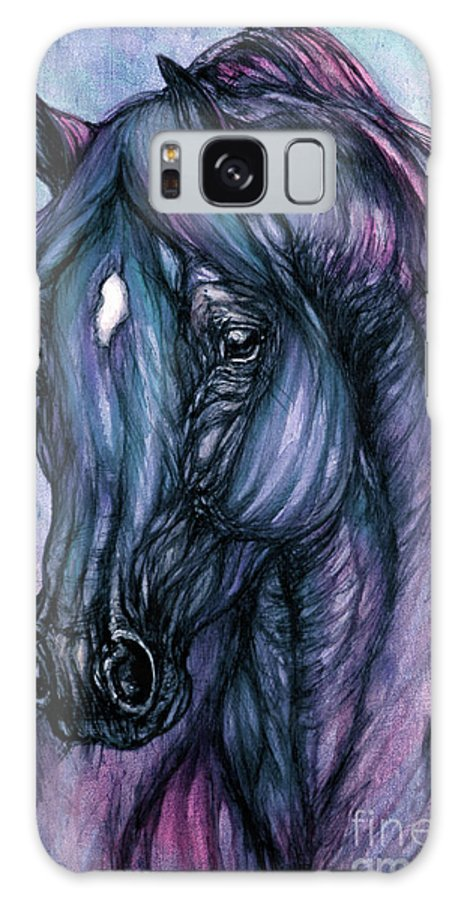 Horse Galaxy S8 Case featuring the painting Psychodelic Deep Blue by Angel Ciesniarska
