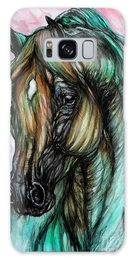 Horse Galaxy S8 Case featuring the painting Psychodelic Pink And Green by Angel Ciesniarska