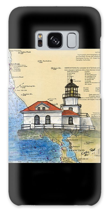 Point Galaxy S8 Case featuring the painting Pt Bonita Lighthouse Ca Nautical Chart Map Art by Cathy Peek