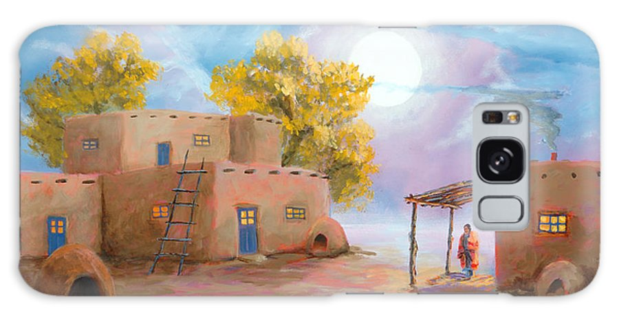 Pueblo Galaxy S8 Case featuring the painting Pueblo De Las Lunas by Jerry McElroy
