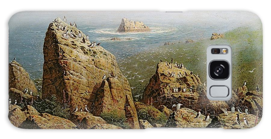 Puffin Colony Galaxy S8 Case featuring the photograph Puffins On Lundy Island Oil On Canvas by John George Naish