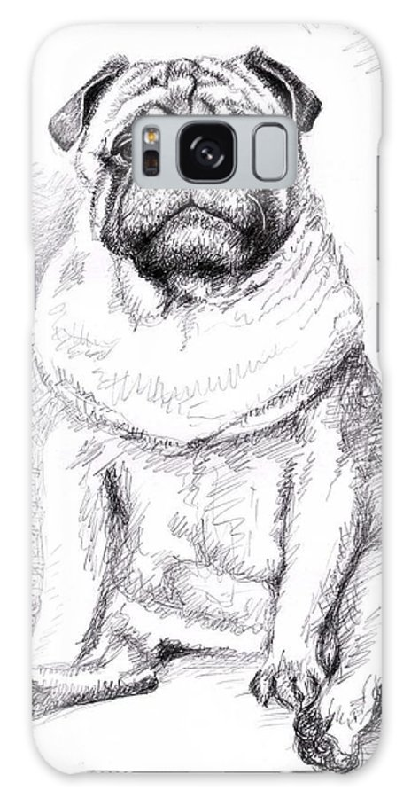 Dog Galaxy Case featuring the drawing Pug Anton by Nicole Zeug