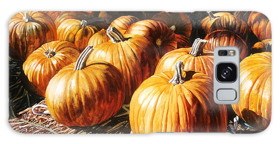 Pumpkins Galaxy S8 Case featuring the painting Pumpkins In The Barn by Christina Swanson