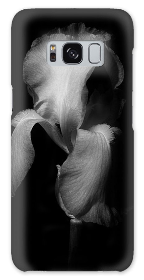 Petals Galaxy S8 Case featuring the photograph Purple Iris In Black And White by Greg and Chrystal Mimbs