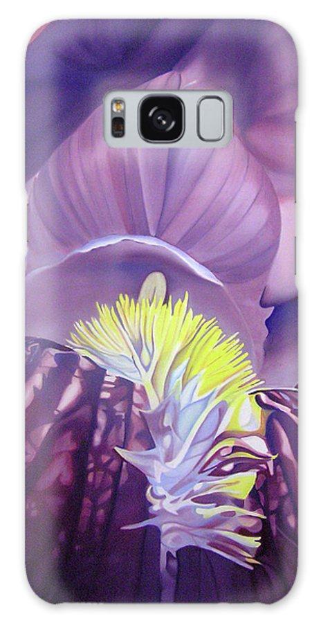 Flower Galaxy S8 Case featuring the painting Georgia O'keeffe Style-purple Iris by Joshua Morton