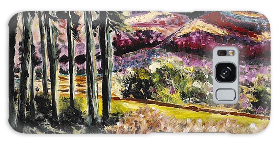 Mountains Galaxy S8 Case featuring the painting Purple Mountains by Gail Epstein