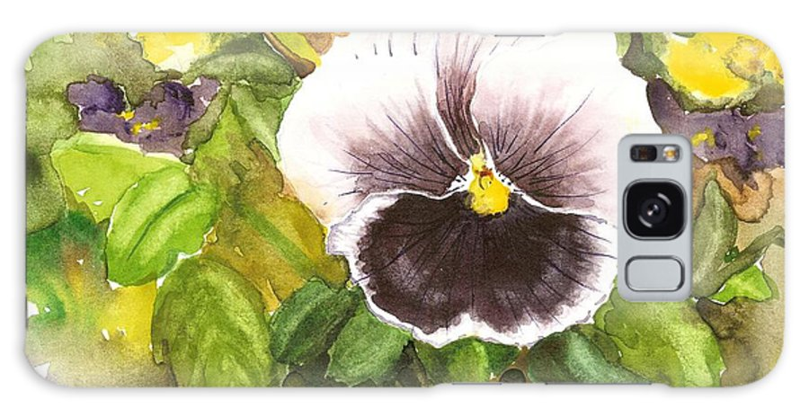 Watercolor Pansy Galaxy S8 Case featuring the painting Purple Pansy by Laurie Adams