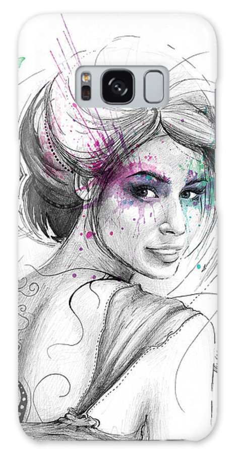 Butterflies Galaxy S8 Case featuring the drawing Queen Of Butterflies by Olga Shvartsur
