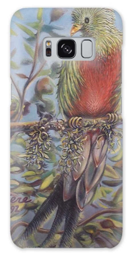 Quetzal Landscape Impressionist Bird Animal Sky Leaves Limb Moss Impressionist Galaxy S8 Case featuring the painting Quetzal On A Limb by Michael Briere