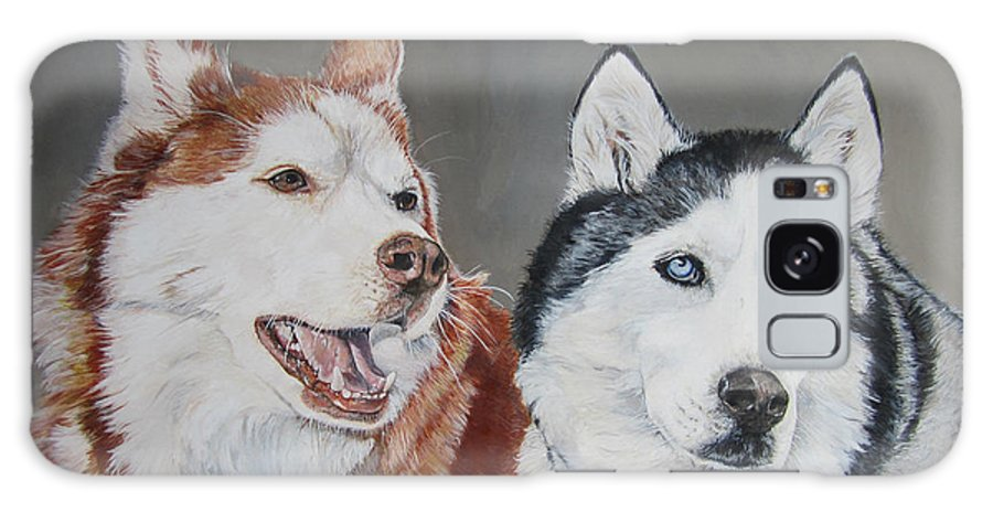 Husky Galaxy S8 Case featuring the painting Quite The Pair by Renee Catherine Wittmann