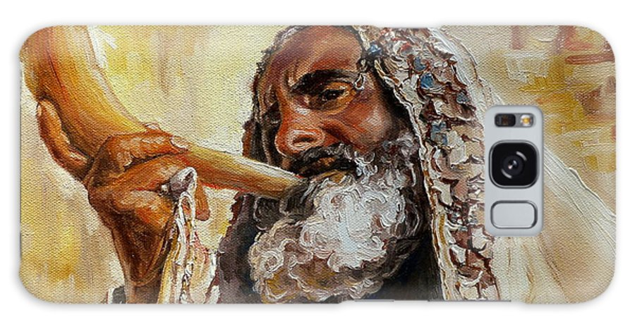 Rabbi Galaxy S8 Case featuring the painting Rabbi Blowing Shofar by Carole Spandau