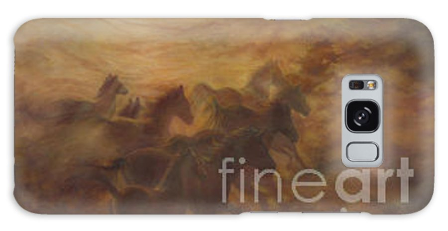 Horse Galaxy S8 Case featuring the painting Racing The Wind by Wendy Froshay