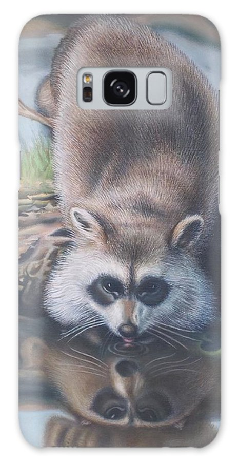Landscape Scene Animal Raccoon Contemplating Reflection Pond Reflection Mask Reconciliation Log Twig Leaves Galaxy S8 Case featuring the painting Racoon Reflections by Michael Briere