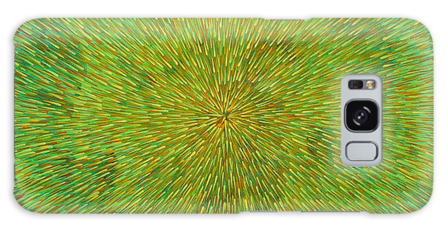 Abstract Galaxy S8 Case featuring the painting Radiation With Green Yellow And Orange by Dean Triolo