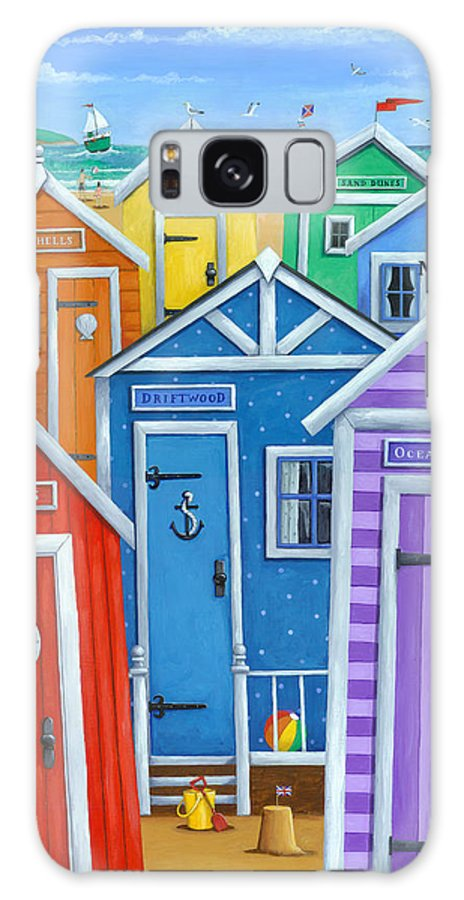 Peter Adderley Galaxy Case featuring the photograph Rainbow Beach Huts by MGL Meiklejohn Graphics Licensing