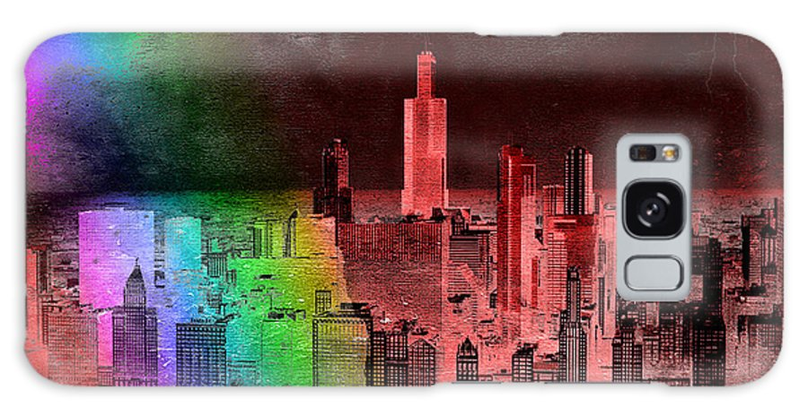 Rainbow Galaxy S8 Case featuring the mixed media Rainbow On Chicago Mixed Media Textured by Thomas Woolworth