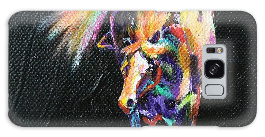 Paint Painted Pony Coloured Pinto Equine Horse Rainbow Fluoro Galaxy S8 Case featuring the painting Rainbow Pony by Louise Green