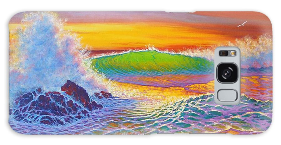 Seascape Sunset Rainbow Colors Surf Crashing Sea Ocean Coast Line Patterns Transparency Reflections Sky Colors Galaxy S8 Case featuring the painting Rainbow Sunset II by Joseph  Ruff
