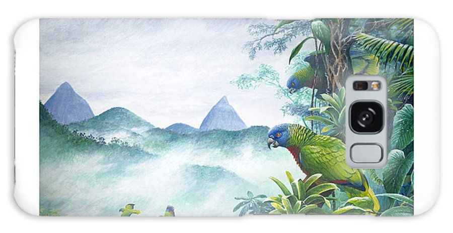 Chris Cox Galaxy S8 Case featuring the painting Rainforest Realm - St. Lucia Parrots by Christopher Cox