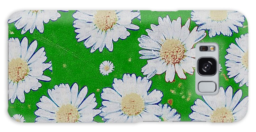 Floral Galaxy S8 Case featuring the mixed media Raining White Flower Power by Pepita Selles