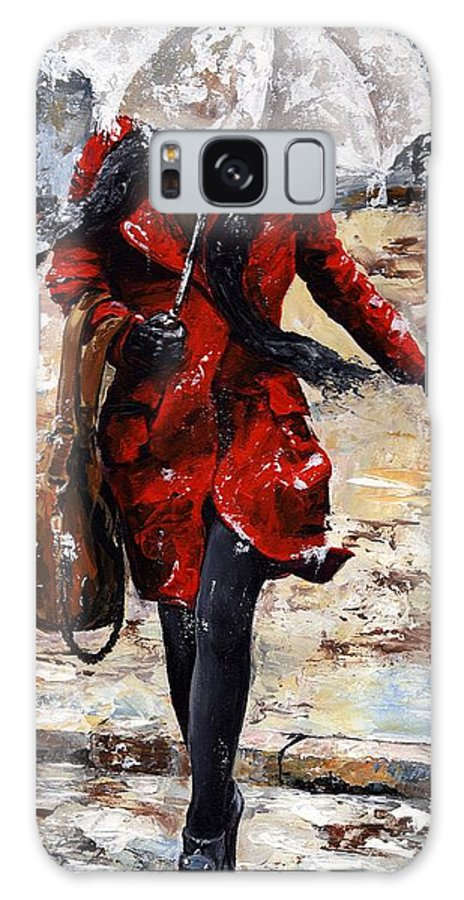 Rain Galaxy S8 Case featuring the painting Rainy Day - Woman Of New York 10 by Emerico Imre Toth
