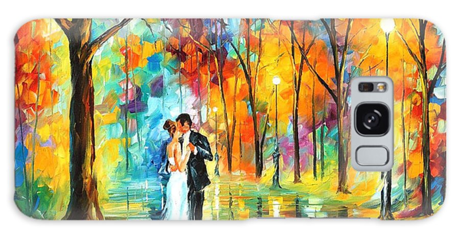 Oil Paintings Galaxy Case featuring the painting Rainy Wedding - Palette Knife Oil Painting On Canvas By Leonid Afremov by Leonid Afremov