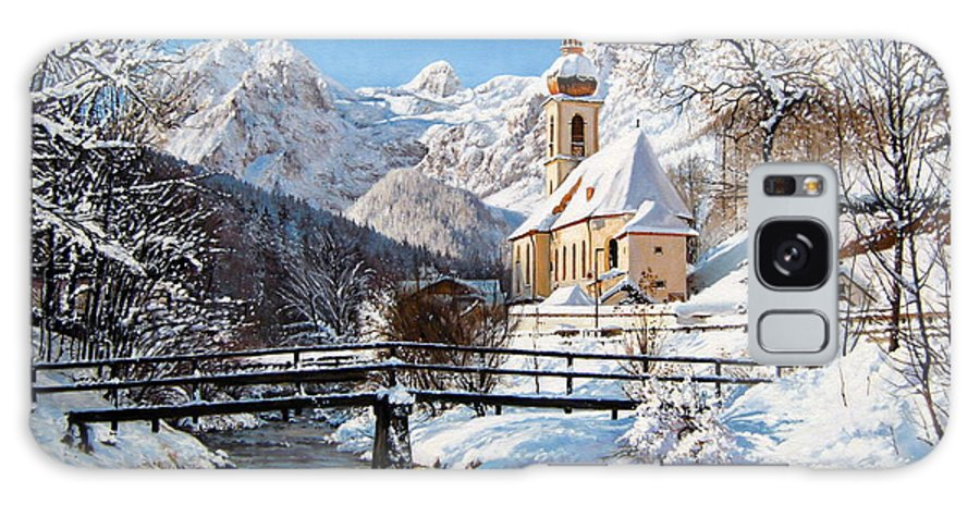 Winter Landscapes Galaxy S8 Case featuring the painting Ramsau Church Germany by Schmidt Roger