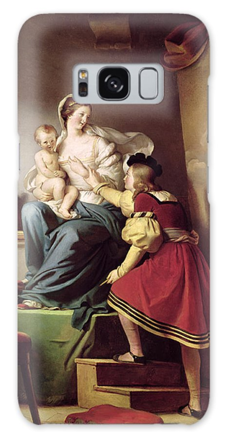 Raphael Adjusting His Models Pose For His Painting Of The Virgin And Child Galaxy S8 Case featuring the painting Raphael Adjusting His Model's Pose For His Painting Of The Virgin And Child by Alexandre Evariste Fragonard