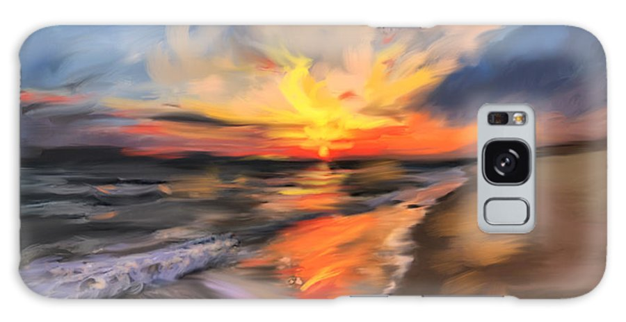 Dawn Galaxy S8 Case featuring the painting Rare California Sunset by Angela Stanton